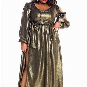 Jibri Metallic gold dress